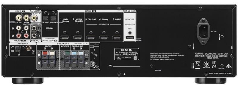 AVR-X540BT-receiver-back panel