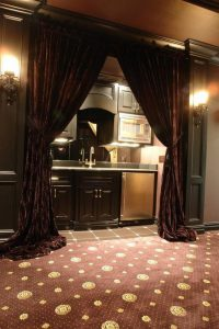 Curtain in cinema rooms,ask for custom sized curtains.
