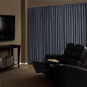 Curtain in cinema rooms, ask for custom sized curtains.