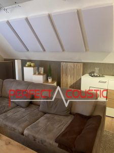 acoustical panels above a sofa