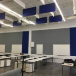 ceiling panels-blue in a hall