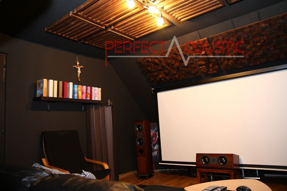 cinema room acoustics design with acoustic absorbers -