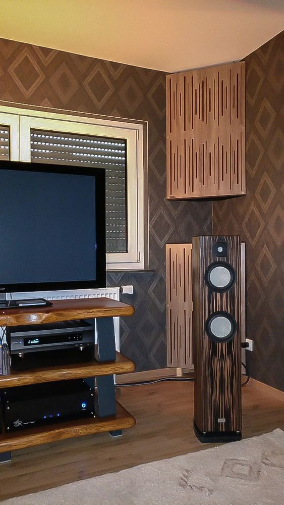 diffuser acoustic panels, sound absorbing panel, bass trap with diffuser front.