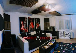 home theater acoustic design with bass absorber