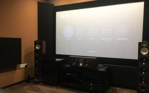 home theater acoustic design with corner bass absorber