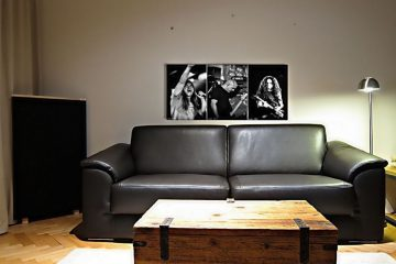 printed acoustic panel on the sofa